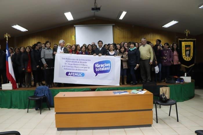 ASISTENTES DE LA EDUCACIÓN RECIBEN 24 MILLONES DE PESOS EN SUBVENCIÓN DE BIENESTAR