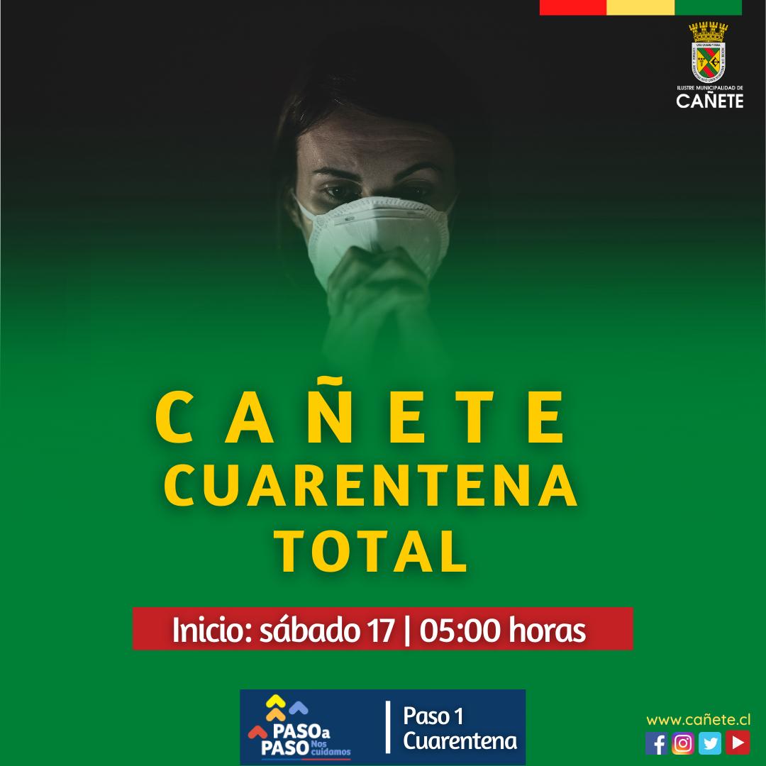 MINISTERIO DE SALUD DECRETA CUARENTENA TOTAL PARA CA U00d1ETE