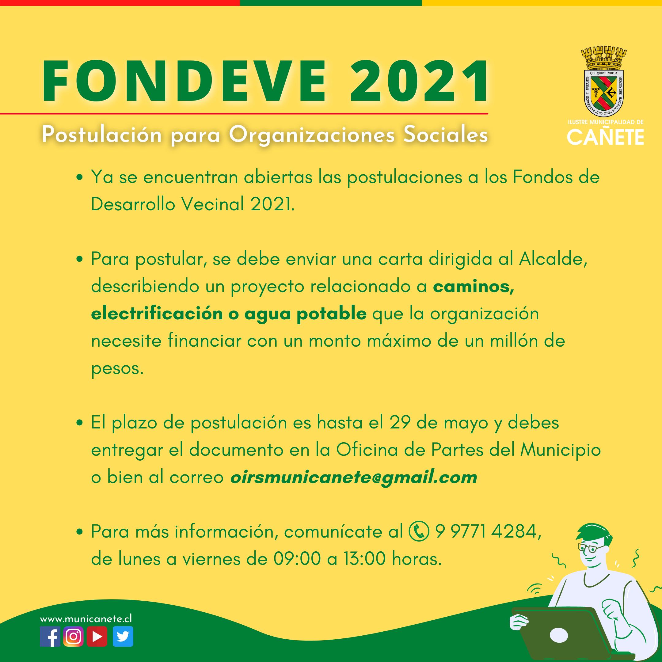 POSTULA AL FONDO DESARROLLO VECINAL 2021