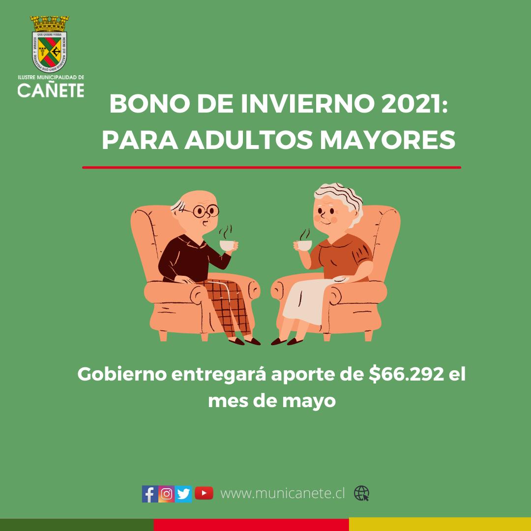 """ADULTOS MAYORES CAÑETINOS RECIBIRÁN """"BONO INVIERNO"""" EL MES DE MAYO"""