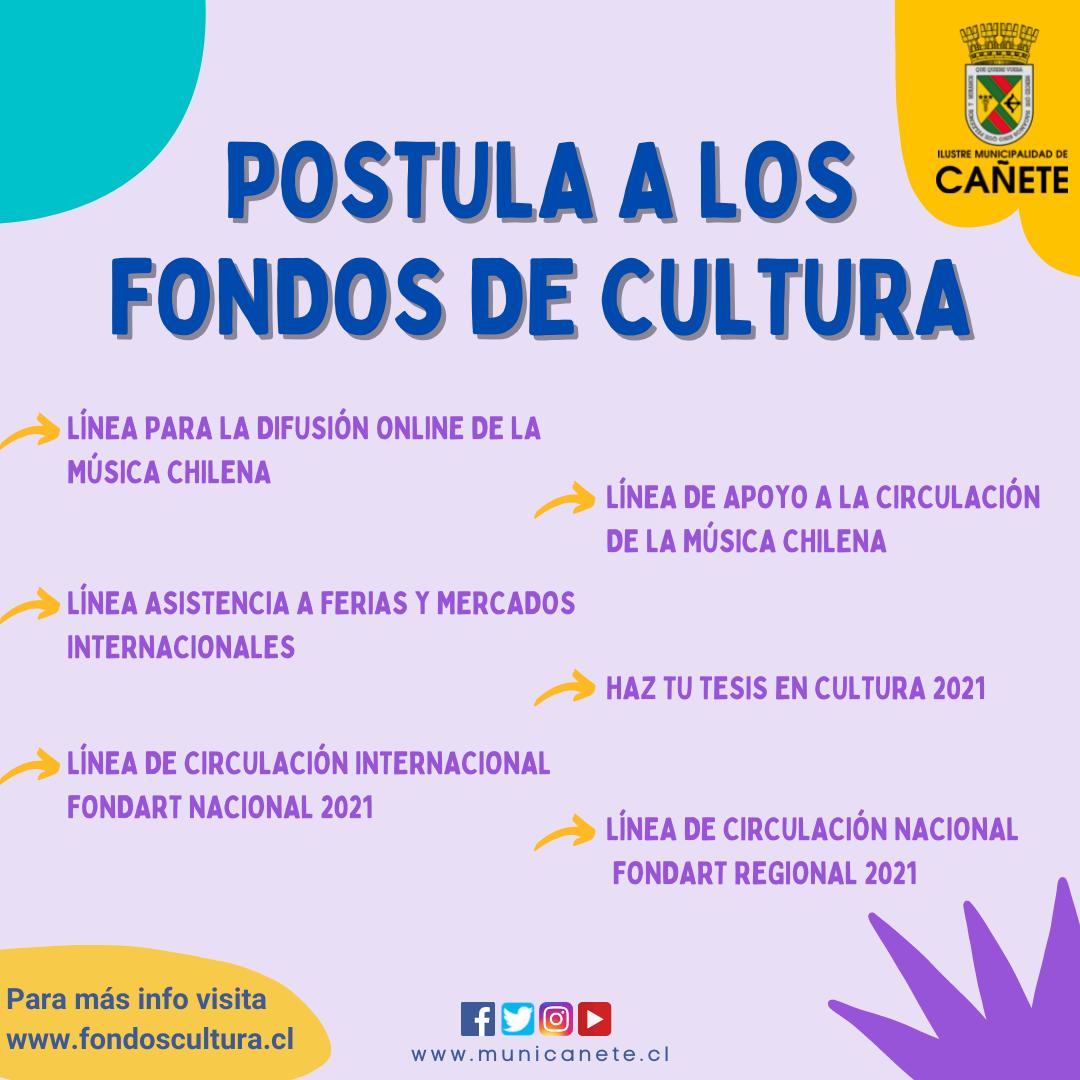 YA ESTÁN ABIERTAS LAS POSTULACIONES PARA LOS FONDOS CULTURA 2021
