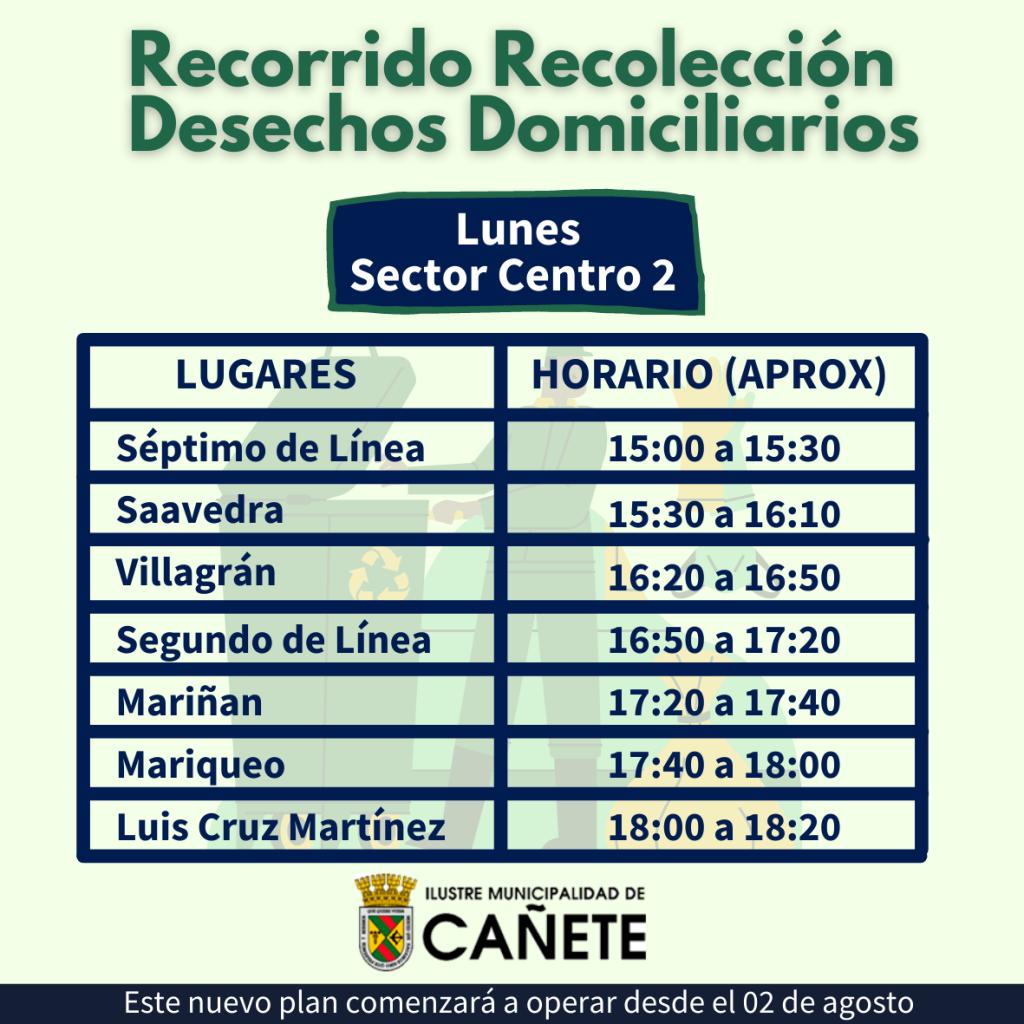Recorrido día lunes sector Centro de Cañete: Séptimo de Línea, Saavedra, Villagrán, Segundo de Línea, Mariñan, Mariqueo, Luis Cruz Martínez.