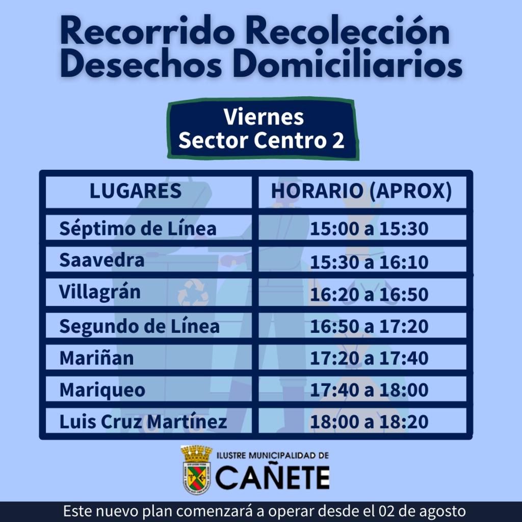 Recorrido día viernes sector centro: Séptimo de Línea, Saavedra, Villagrán, Segundo de Línea, Mariñan, Mariqueo, Luis Cruz Martínez.
