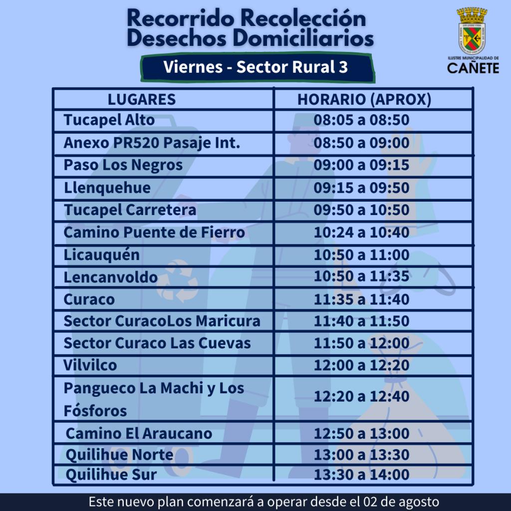Recorrido día viernes sector rural: Tucapel Alto, Anexo PR520 pasaje interior, Paso Los Negros, Llenquehue, Tucapel carretera, Camino Puente de Fierro, Licauquén, Lencanboldo, Curaco, Sector Curado Los Maricura, sector Curaco Las Cuevas, Vilvilco, Pangueco La Machi y los fósforos, camino El Araucano, Quilihue Norte, Quilihue Sur.